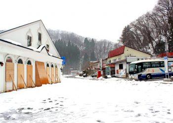 村,ロータリー,雪,曇り,屋外,冬