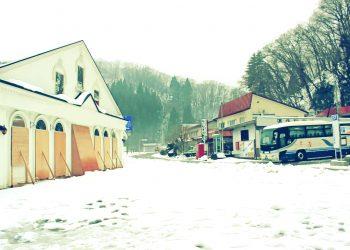 村,ロータリー,雪,曇り,屋外,昭和レトロ,冬