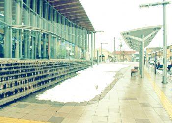 駅, ロータリー, 町, 曇り, 雪, 昭和レトロ, 冬, 屋外