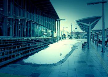駅, ロータリー, 町, 曇り, 雪, ホラー, 冬, 屋外