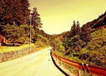 道路,村,屋外,夏,晴れ,ヴィンテージ