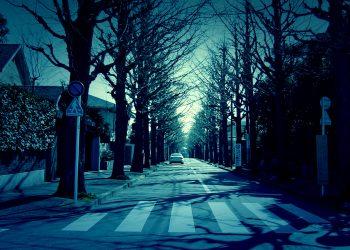 道路,町,屋外,冬,晴れ,ホラー