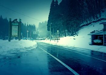 道路,村,冬,屋外,雪,ホラー