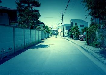 道路,町,晴れ,屋外,夏,ホラー