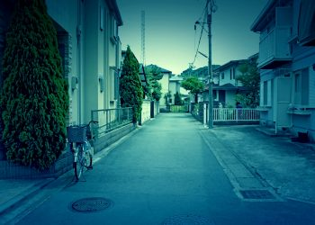 道路,町,屋外,夏,曇り,ホラー