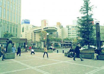 駅,ロータリー,都市,屋外,曇り,冬,昭和レトロ
