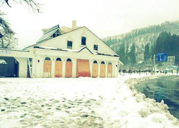 村,ロータリー,雪,曇り,屋外,冬,昭和レトロ