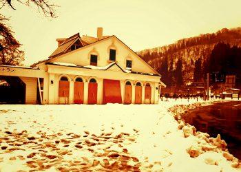 村,ロータリー,雪,曇り,屋外,ヴィンテージ,冬