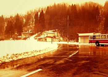 村,ロータリー,雪,曇り,屋外,冬,ヴィンテージ