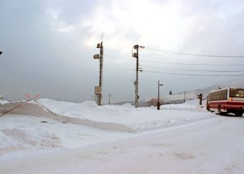 村,ロータリー,冬,屋外,雪