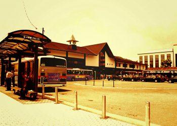 町,駅,ロータリー,夏,屋外,晴れ,ヴィンテージ