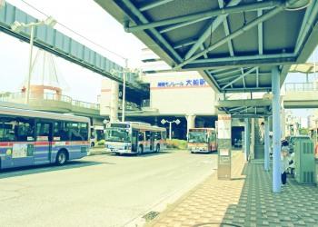 駅,ロータリー,屋外,夏,晴れ,昭和レトロ