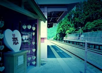 駅,恋山形駅,屋外,夏,晴れ,ホラー