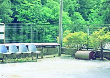 駅前,ロータリー,村,屋外,夏,昭和レトロ