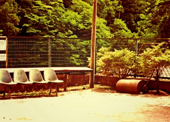 駅前,ロータリー,村,屋外,夏,ヴィンテージ