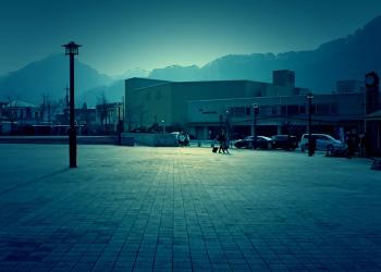 駅前,町,曇り,屋外,秋,ホラー