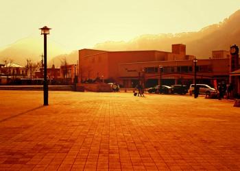 駅前,町,曇り,屋外,秋,ヴィンテージ