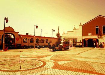 駅,町,屋外,夏,晴れ,ヴィンテージ