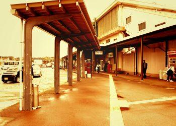 駅前,ロータリー,町,屋外,曇り,ヴィンテージ
