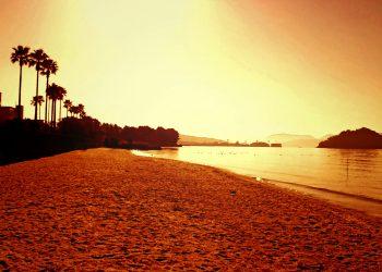 浜辺,町,屋外,秋,晴れ,ヴィンテージ