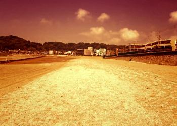 浜辺,町,夏,屋外,晴れ,ヴィンテージ