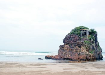 浜辺,神社,屋外,秋,曇り
