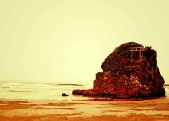 浜辺,神社,屋外,秋,曇り,ヴィンテージ