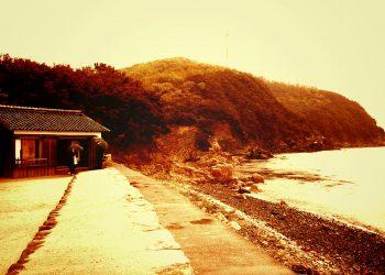 浜辺,漁村,屋外,秋,曇り,ヴィンテージ