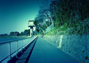 川,町, 屋外, 冬,晴れ,ホラー