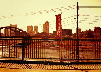川,都市, 屋外,秋,晴れ,ヴィンテージ