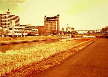 川,町,屋外,秋,晴れ,ヴィンテージ