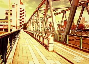 橋,町,屋外,秋,晴れ,ヴィンテージ