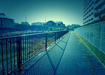 川,橋,町,屋外,春,晴れ,ホラー