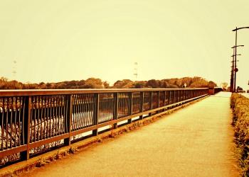 川,橋,町,屋外,春,晴れ,ヴィンテージ