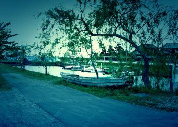 川,町,屋外,夏,ホラー