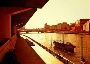 川,街,屋外,夏,晴れ,ヴィンテージ