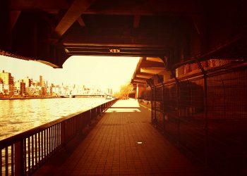 川,街,橋,屋外,夏,晴れ,ヴィンテージ