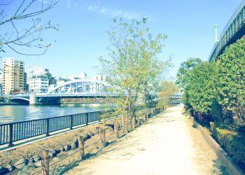 川,橋,都会,屋外,春,晴れ,昭和レトロ