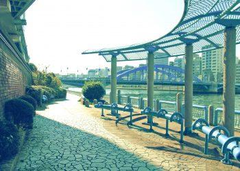川,都会,屋外,春,晴れ,昭和レトロ