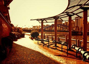 川,都会,屋外,春,晴れ,ヴィンテージ