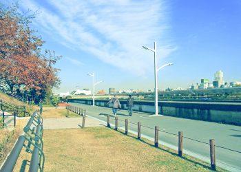 川,町,晴れ,秋,屋外,昭和レトロ