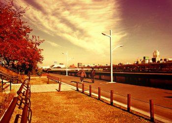 川,町,晴れ,秋,屋外,ヴィンテージ