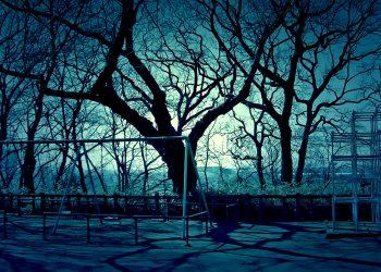 町,公園,冬,屋外,晴れ,ホラー