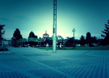 公園,町,夏,屋外,曇り,ホラー