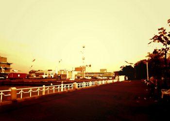 港,都市,公園,屋外,秋,曇り,ヴィンテージ
