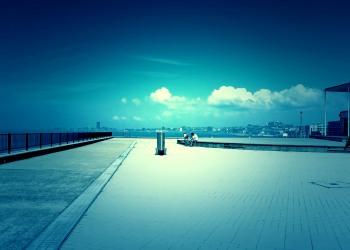港,町,屋外,晴れ,夏,ホラー