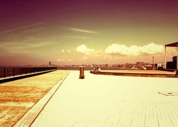 港,町,屋外,晴れ,夏,ヴィンテージ