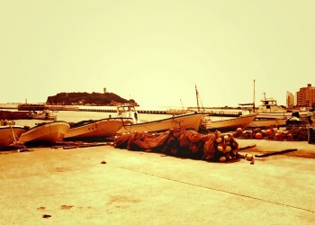 港,町,夏,屋外,曇り,ヴィンテージ
