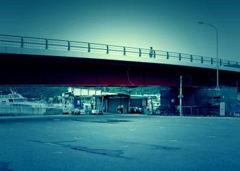 橋,港町,屋外,冬,曇り,ホラー