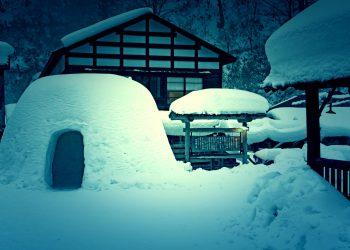 日本家屋,村,和,屋外,冬,雪,ホラー